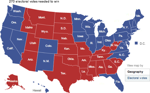 A geographically accurate electoral vote results map of the United States