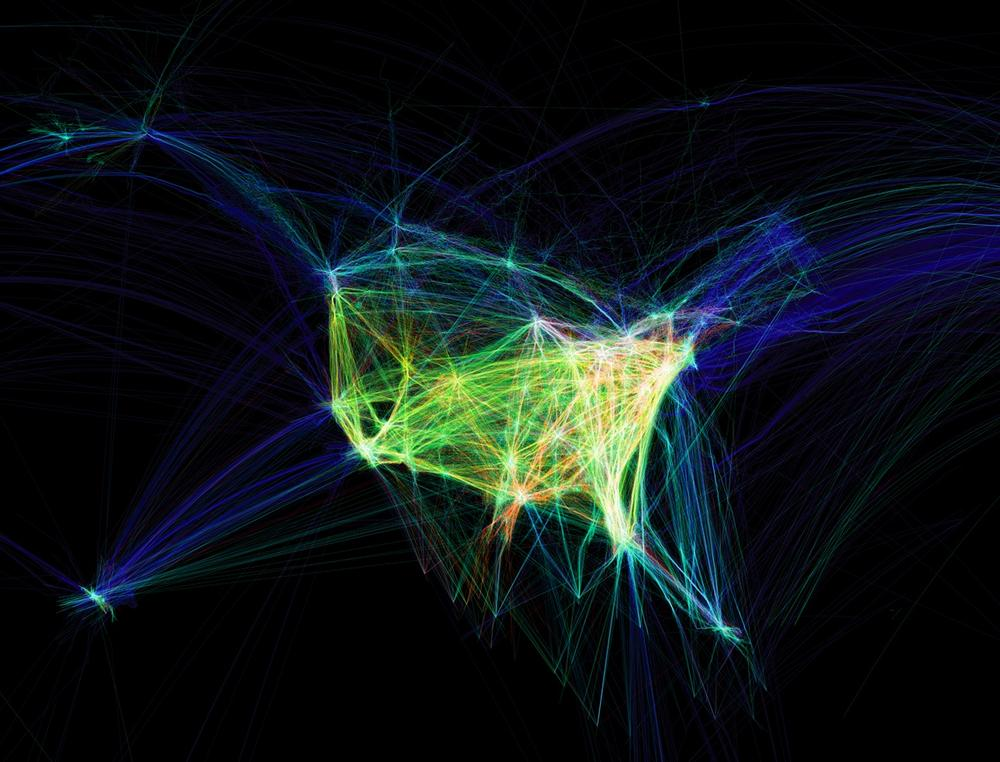 Flight Patterns, a visualization of aircraft location data for airplanes arriving at and departing from U.S. and Canadian airports