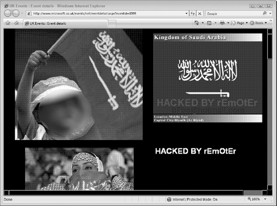 The defaced Microsoft UK Events Page, June 2006 (retrieved from www.zone-h.org)