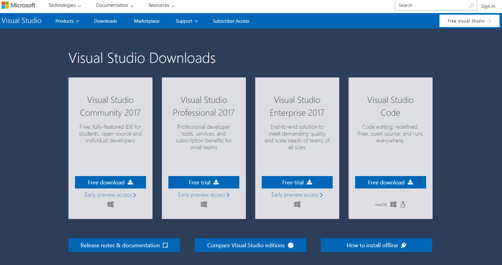 Locating and downloading the Visual Studio Community edition