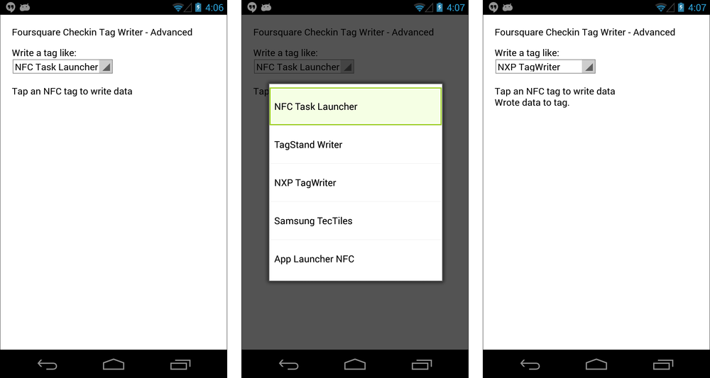 The Foursquare Check-In Advanced app; initial screen (left), showing options menu (center), and after writing to tag (right)
