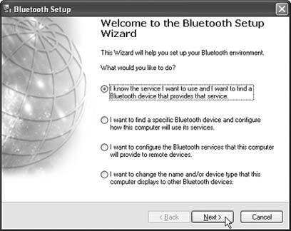 The Bluetooth Setup Wizard