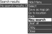 Choosing New search from the menu