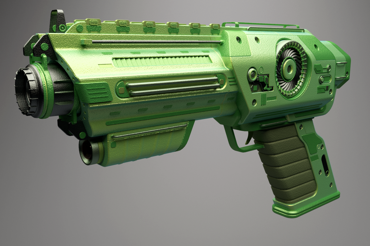 Texturing and Rendering Your Sci-Fi Pistol