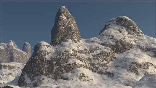 Creating a snowy mountain landscape with procedurals