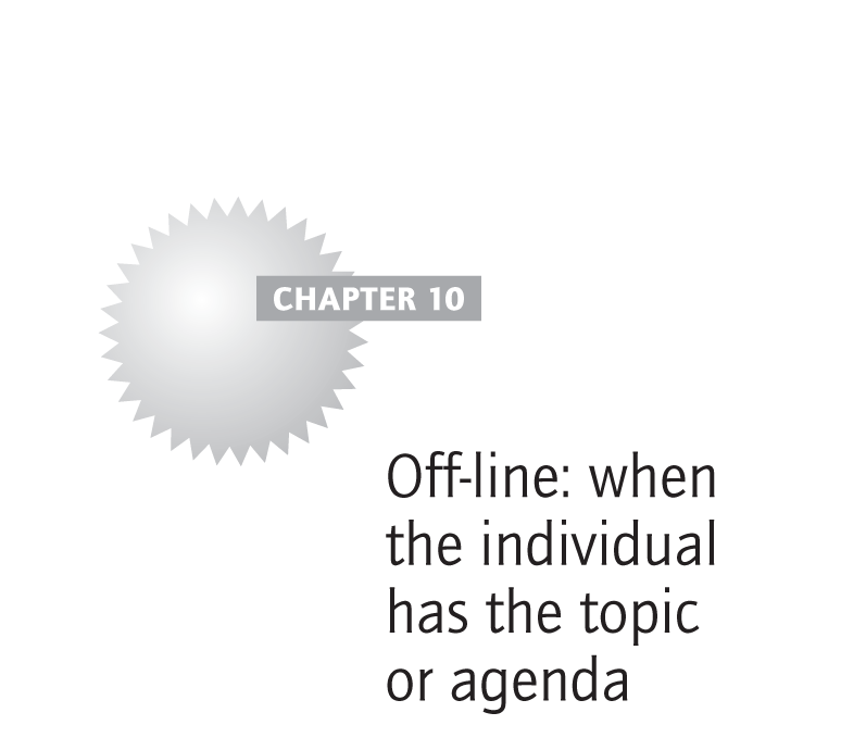 Off-line: when the individual has the topic or agenda