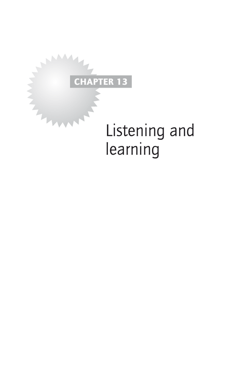 Chapter 13: Listening and learning