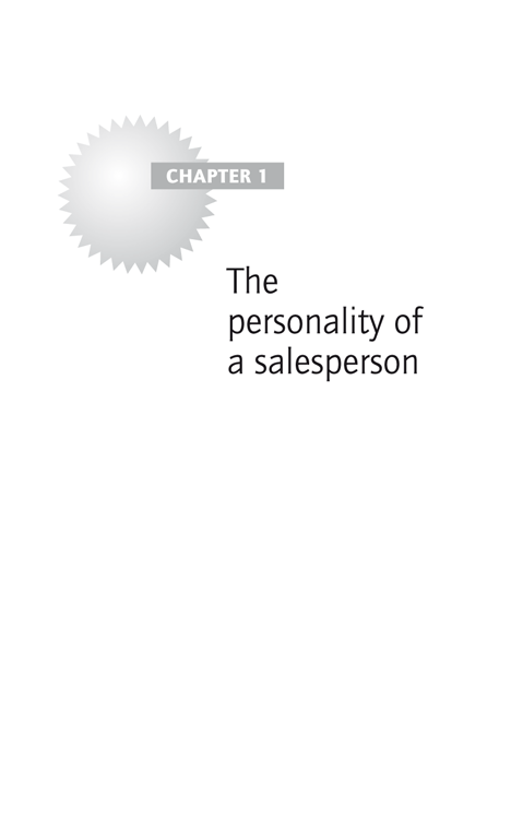 Chapter 1: The personality of a salesperson