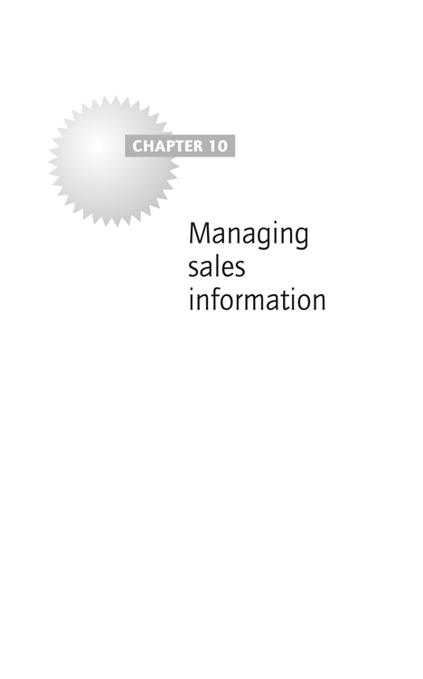 Chapter 10: Managing sales information