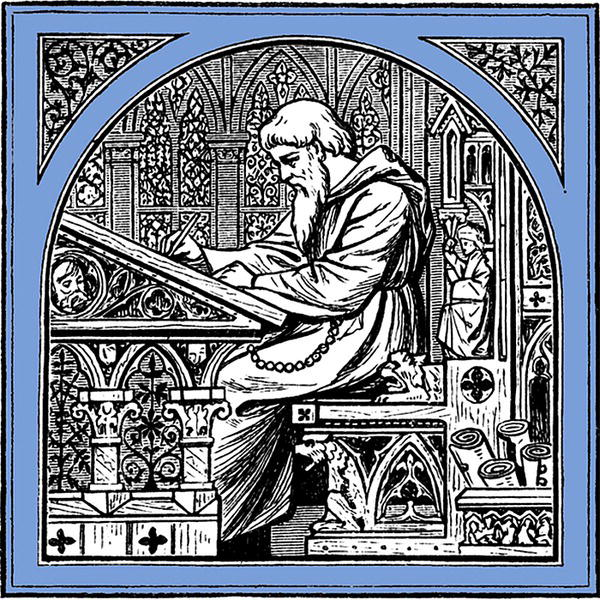 Illustration of a scribe on a chair, writing.