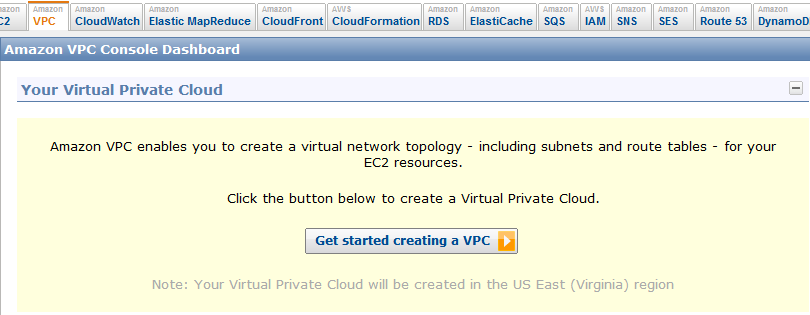 The AWS VPC starting screen