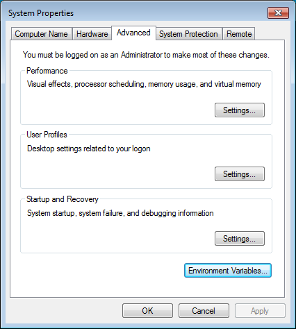 Windows Advanced System Settings dialog