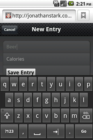 Keyboard data entry with the New Entry form