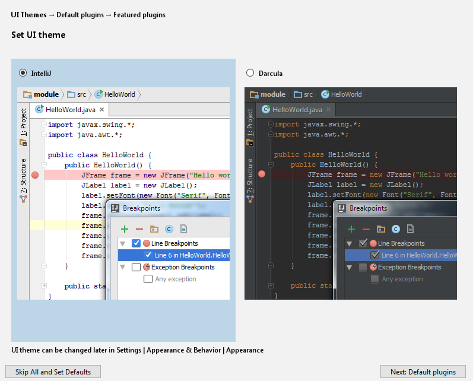Starting IntelliJ for the first time - Building Applications with