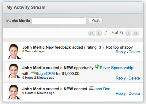 Activity Stream with entries from the Feedback and Sessions modules