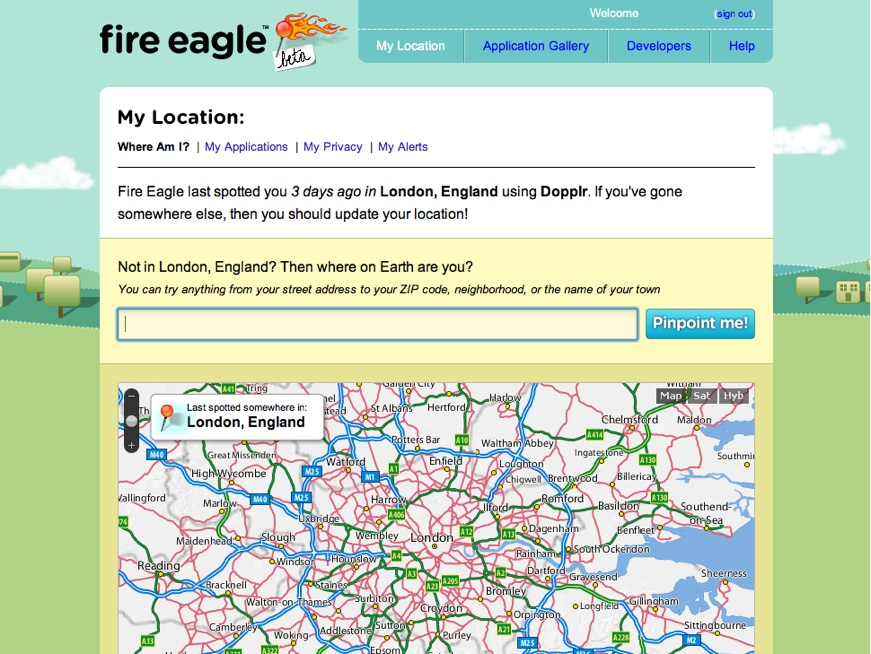 Fire Eagle showing my current location