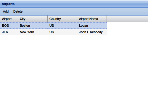 Airports UI in a browser
