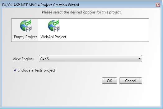Project Creation Wizard dialog with F# ASP.NET MVC