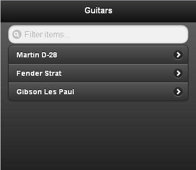 Guitar list with ASP.NET MVC 4 and jQuery Mobile