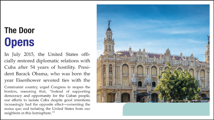An example of the chapter opening cases feature. This example discusses the relationship between Cuba and the U S.