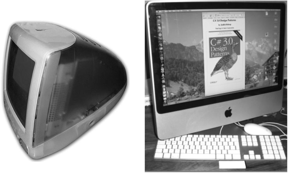 Adapter pattern illustration—migration of Mac OS X from a 1998 PowerPC-based iMac to a 2007 Intel-based iMac