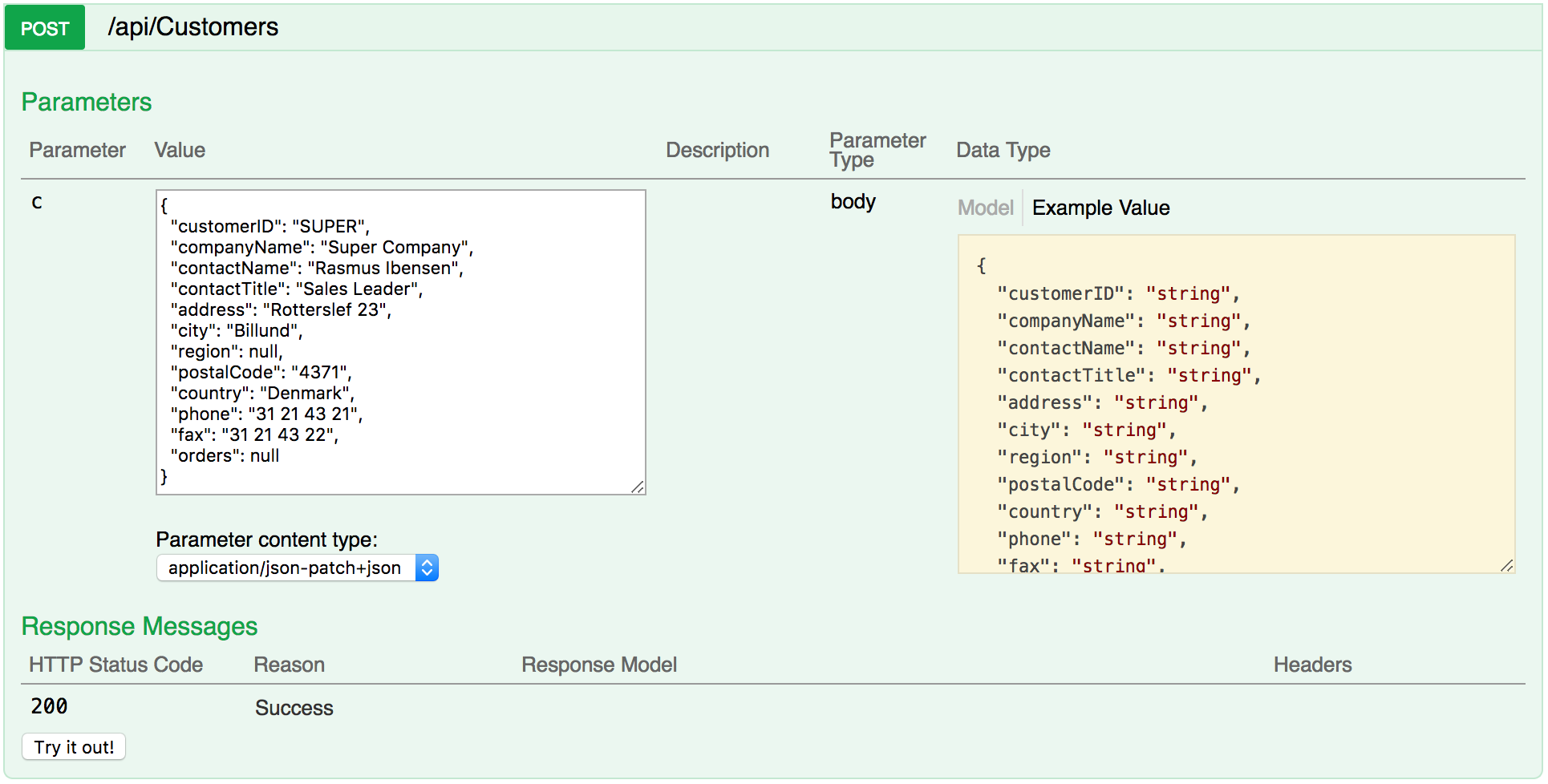 Testing POST requests with Swagger UI - C# 7 and  NET