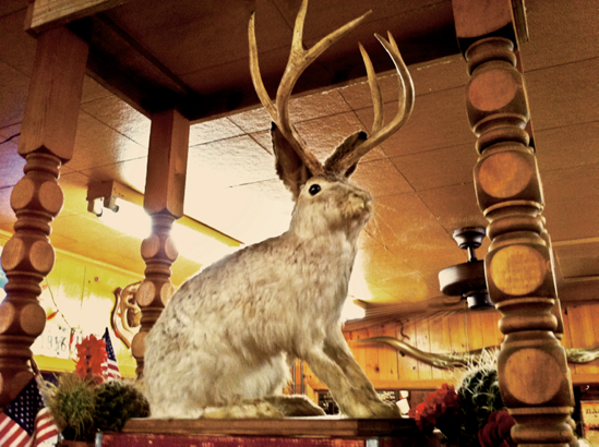 I snapped this shot of the mythical Jackalope at a BBQ place in Lockhart, Texas.