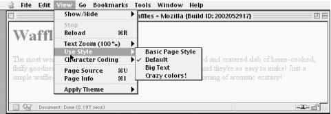 A browser offering alternate style sheet selection