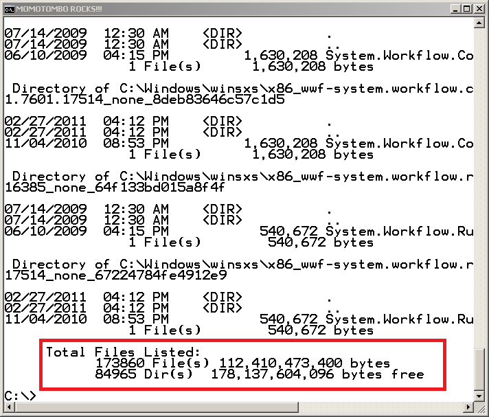 This figure shows the output from the dir /s command-line command on a Windows C drive. The top portion of the figure shows the dir data from the final four directories on the scan. An outlined portion at the bottom of the figure is the summary data from the dir /s command. It reads Total Files Listed: 173860 File(s), 112,410,473,400 bytes; 84965 Dir(s), 178,137,604,096 bytes free.