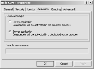 Application Activation tab