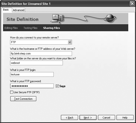 "In the ""Sharing files"" step of the Site Definition wizard, you choose how you want to transfer your files to the remote Web server that stores your Web site files. Usually, you send your files to a Web server using a communication method like FTP. However, if the Web server is part of a company network, you might be able to transfer your files just by copying them to the right folder on the network."