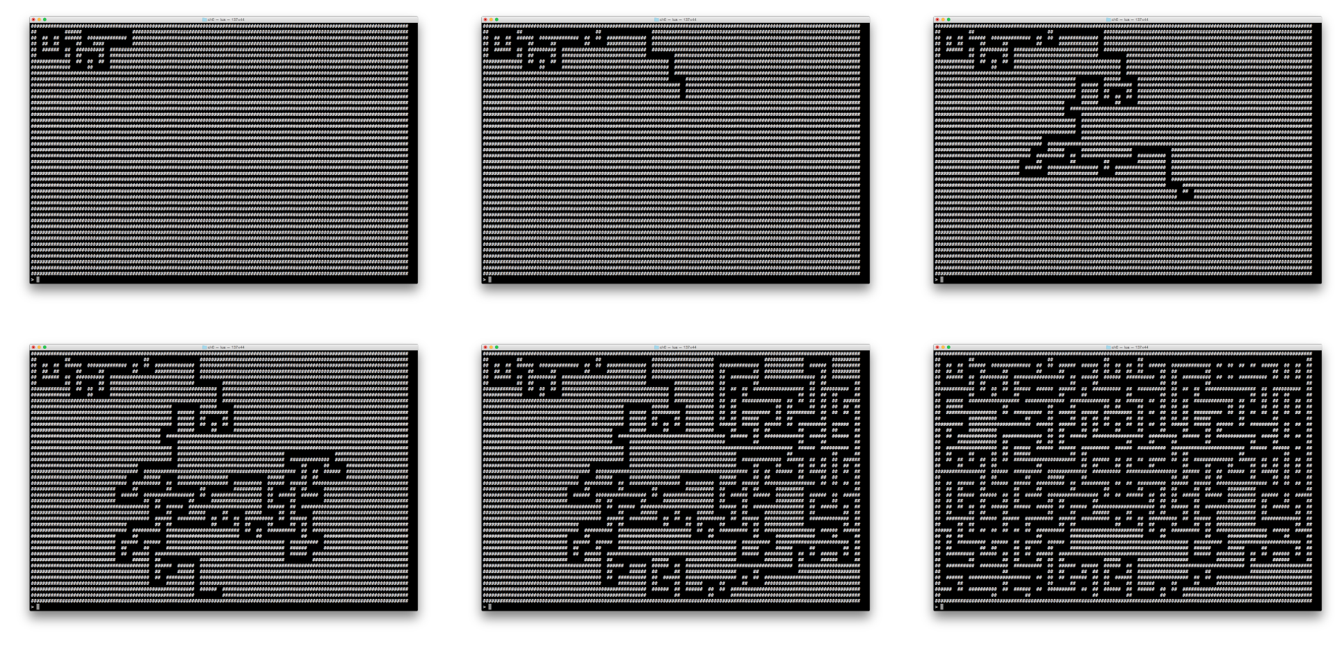 A time-lapse sequence of our maze generation. These images were created by using a modified version of the code in this chapter.