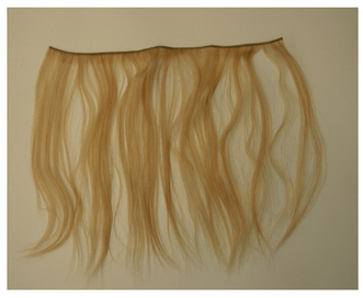 "Figure 4.1 An individual weft of hair. These are made by knotting hair strands together to form a ""fringe."""