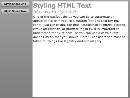 Style sheet in HTML example