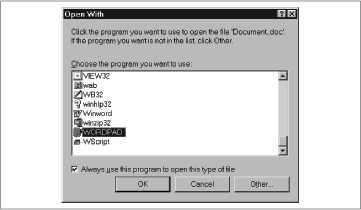 Open With dialog box