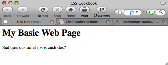 The default rendering of a basic HTML web page
