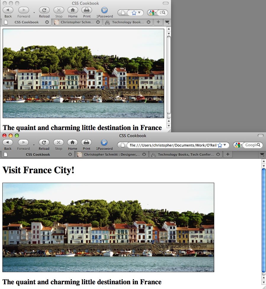 Revealing more of the panoramic image as the browser window increases in size