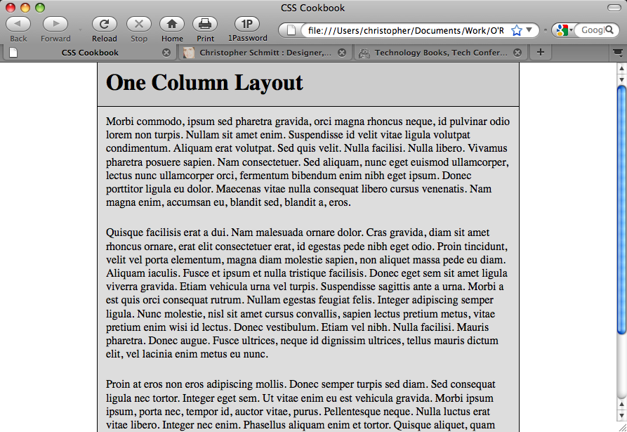 One-column page reinforced by an increased margin