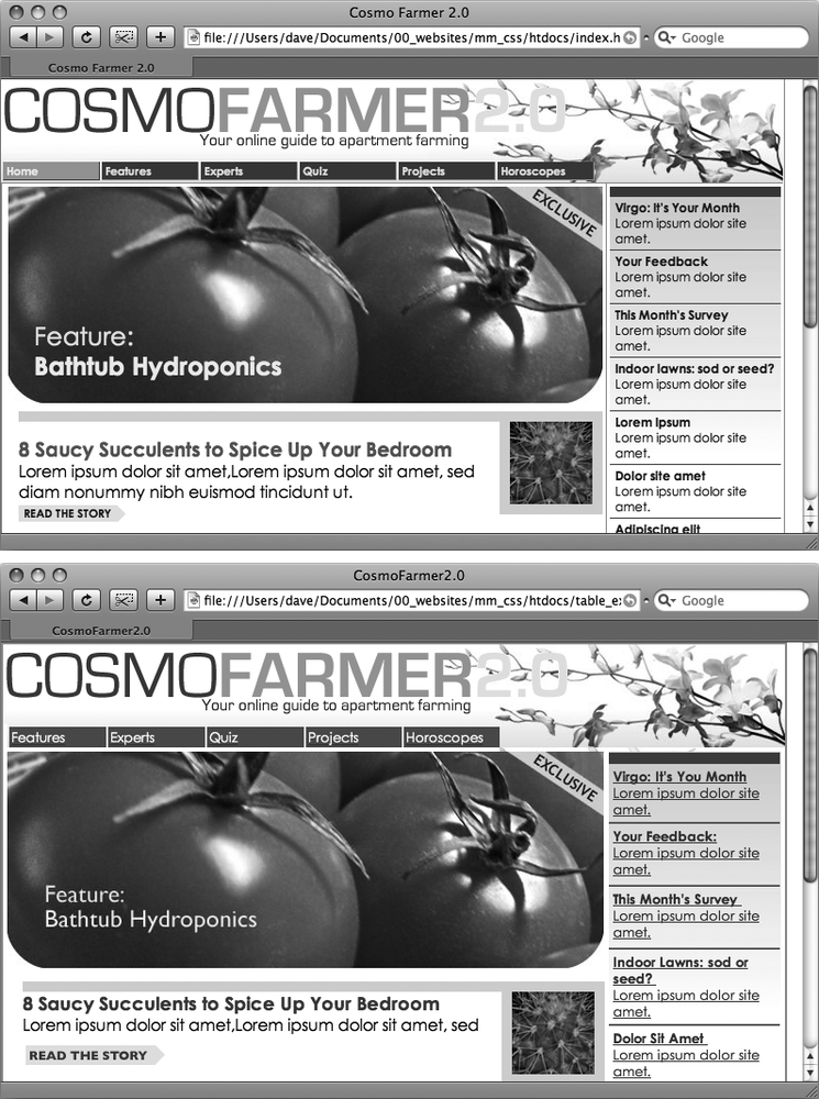 CSS-driven web design makes writing HTML easier. The two designs pictured here look similar, but the top page is styled completely with CSS, while the bottom page uses only HTML. The size of the HTML file for the top page is only 4k, while the HTML-only page is nearly four times that size at 14k. The HTML-only approach requires a lot more code to achieve nearly the same visual effects: 213 lines of HTML code compared with 71 lines for the CSS version.