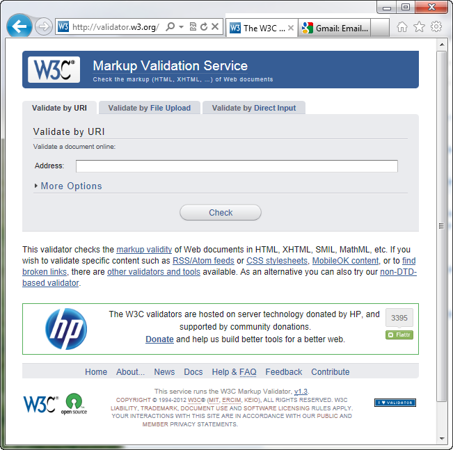 The W3C HTML validator located at lets you quickly make sure the HTML in a page is sound. You can point the validator to an already existing page on the Web, upload an HTML file from your computer, or just paste the HTML of a web page into a form box and then click the Check button.