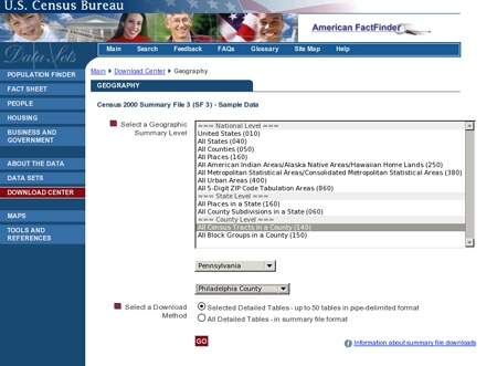 The Census Bureau page containing all census tracts data; Pennsylvania and Philadelphia County are selected from the drop-down menu