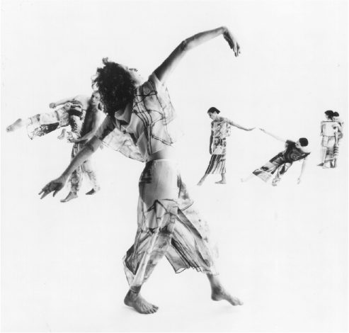 A typically athletic (and aesthetic) performance by the Trisha Brown dance company (Set and Reset, 1996; photo by Chris Callis)