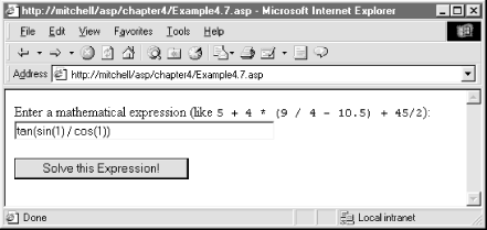 The form in Example 4.7 when viewed through a browser
