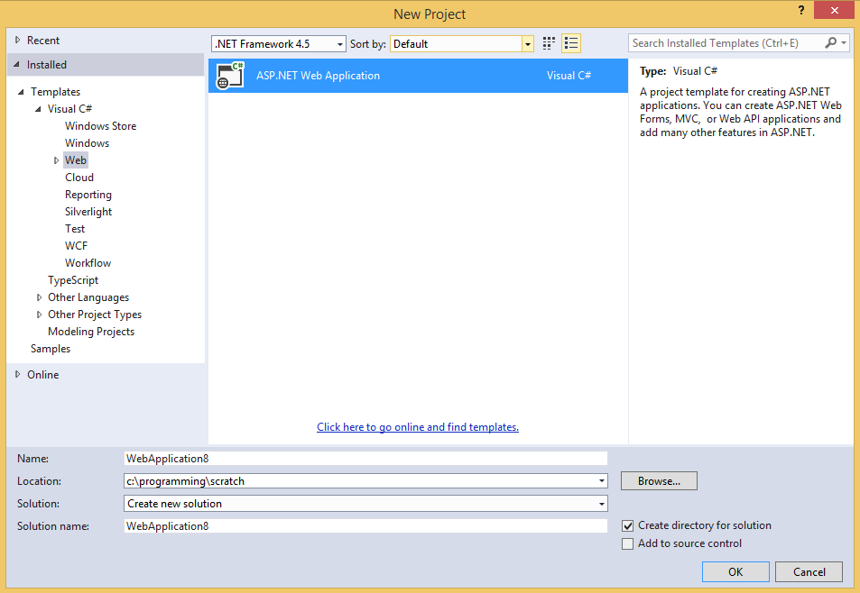 MVC 4 Web Application project in the Visual Studio 2012 New Project dialog