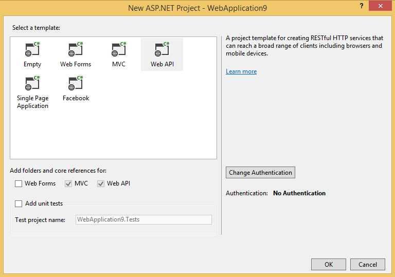 Web API project type in the MVC 4 New Project dialog