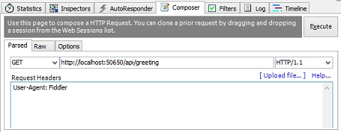 Using Fiddler to compose a new HTTP request