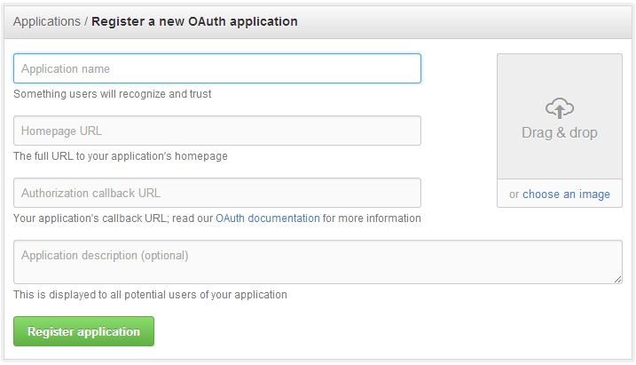 Client registration form at GitHub (2013)