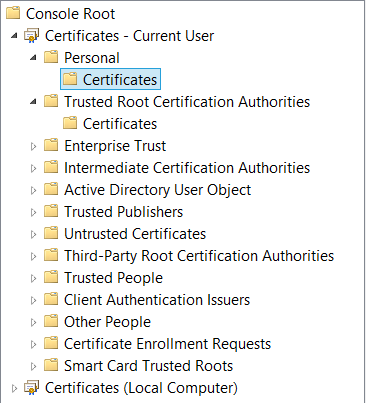 Windows certificate stores
