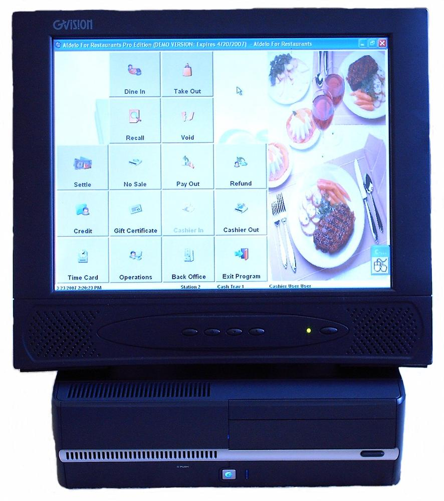 A POS touchscreen. According to the National Restaurant Association, touchscreen POS systems pay for themselves in savings to the establishment. Courtesy GVISION USA, Inc.