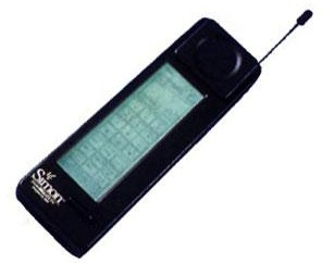 Simon, released in 1994, was the first mobile touchscreen device. It suffered from some serious design flaws, such as not being able to show more than a few keyboard keys simultaneously, but it was a decade ahead of its time. Courtesy IBM.